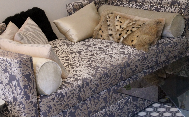 Silver corals  print couch